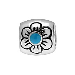 Individuality Beads Sterling Silver Floral Oval Bead