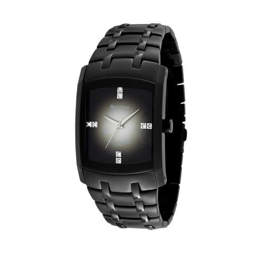 Armitron Stainless Steel Black Ion Crystal Watch - Men