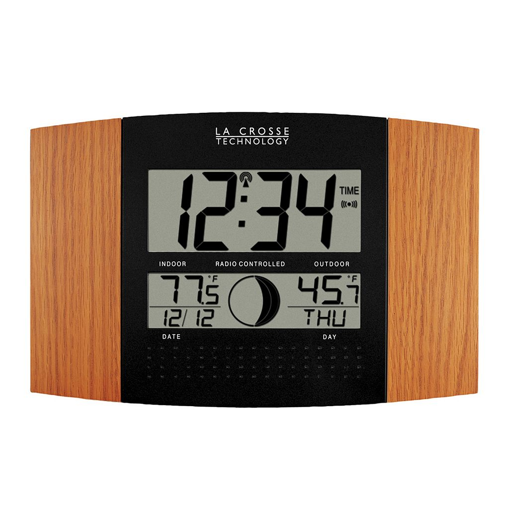 La Crosse Technology Atomic Digital Wall Clock with Moon Phase