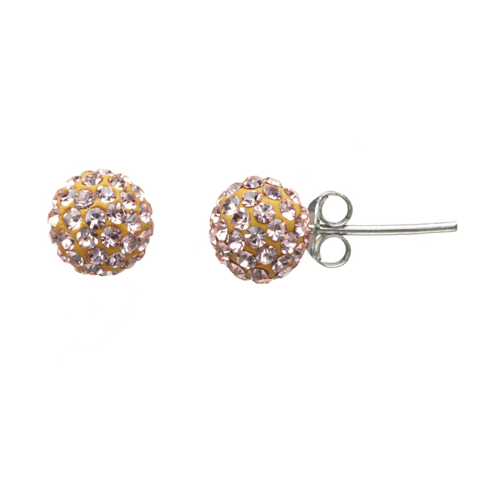 Sterling Silver Champagne Crystal Ball Stud Earrings
