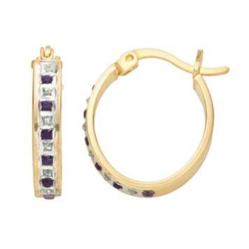18k Gold-Over-Silver Amethyst & Diamond Accent Oval Hoop Earrings