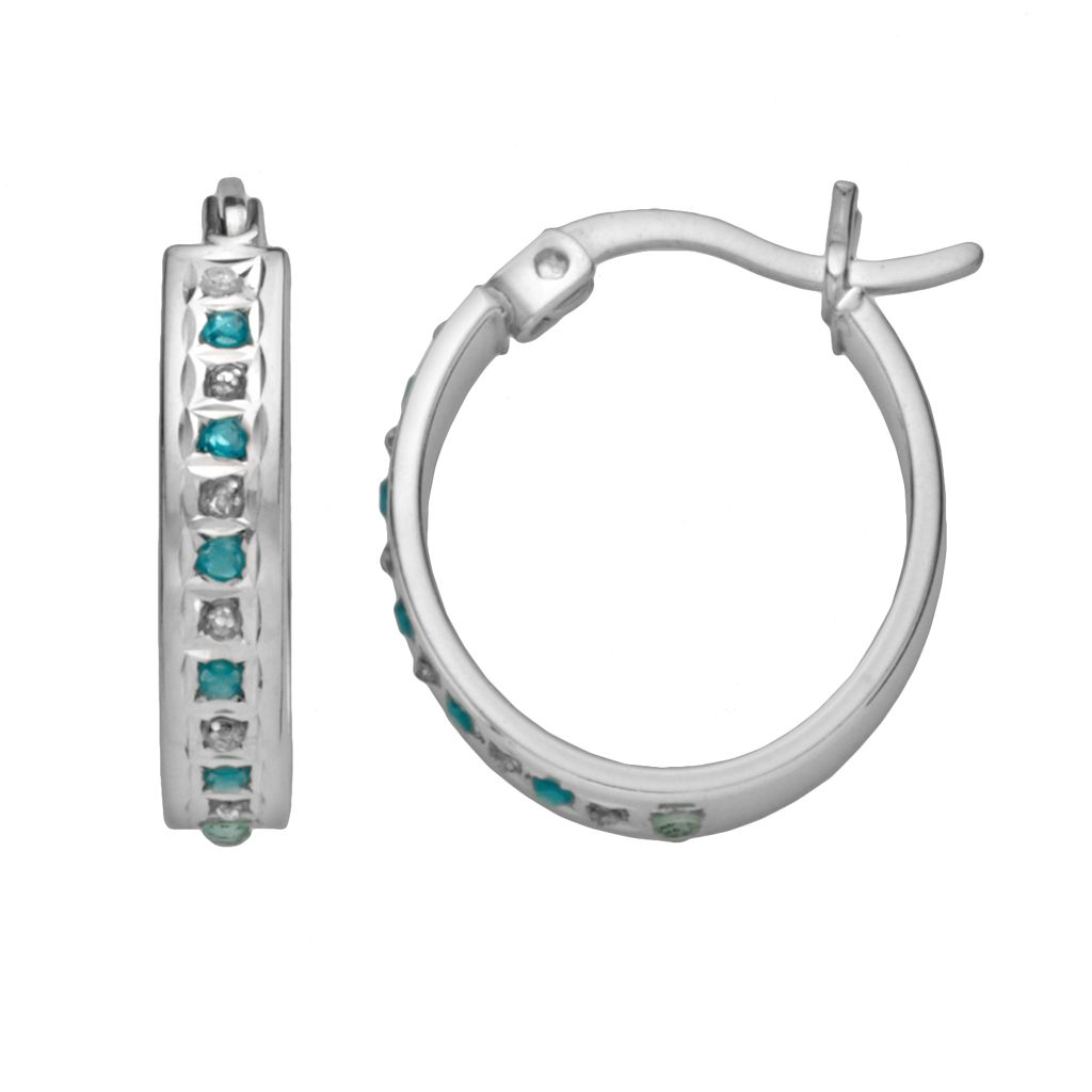 Platinum-Over-Silver Blue Topaz & Diamond Accent Oval Hoop Earrings