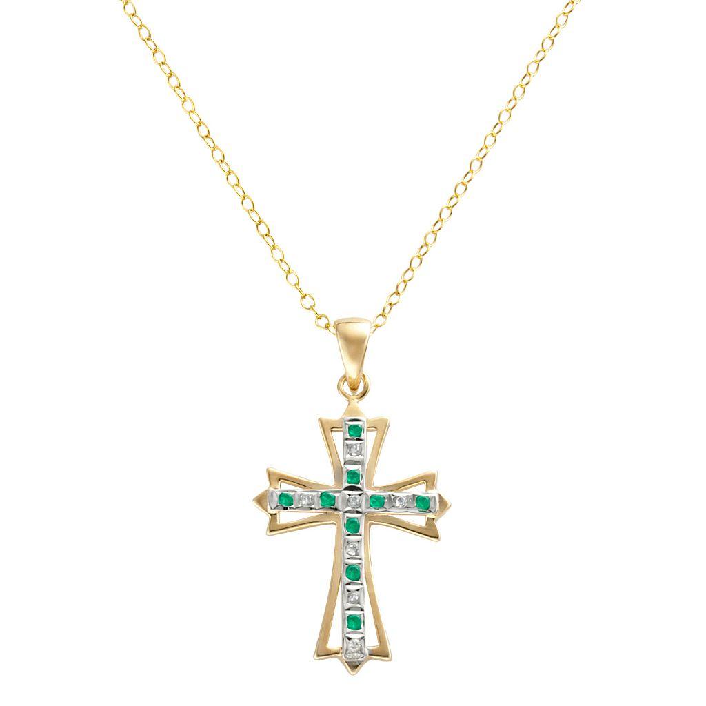 18k Gold-Over-Silver Emerald & Diamond Accent Cross Pendant