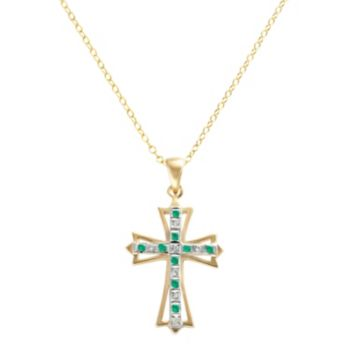 18k Gold-Over-Silver Emerald and Diamond Accent Cross Pendant