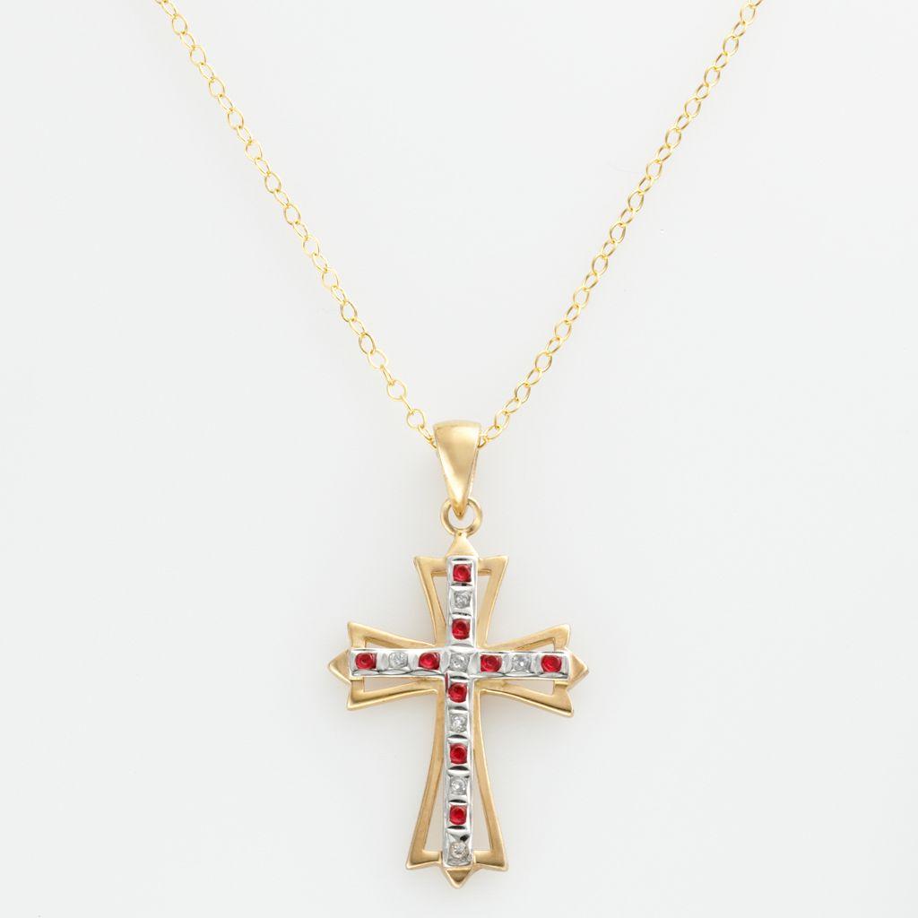 18k Gold-Over-Silver Ruby & Diamond Accent Cross Pendant