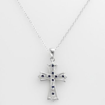 Platinum Over Silver Sapphire & Diamond Accent Cross Pendant
