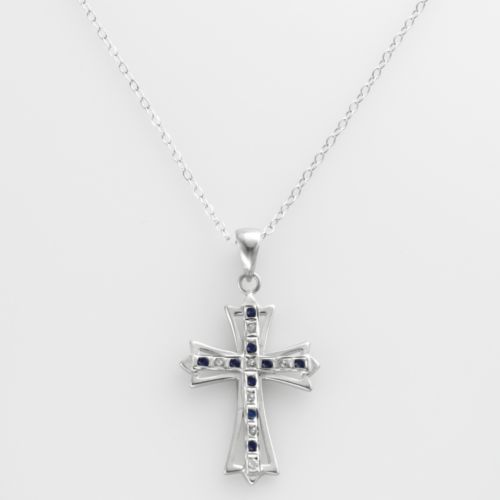 Platinum Over Silver Sapphire and Diamond Accent Cross Pendant