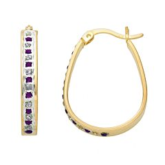 18k Gold-Over-Silver Amethyst & Diamond Accent Pear Hoop Earrings