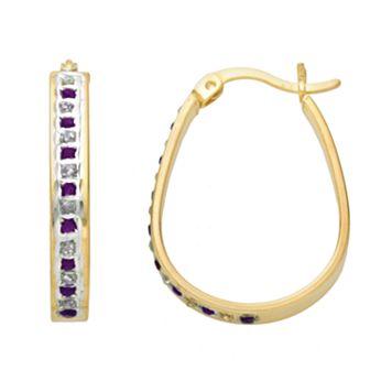 18k Gold-Over-Silver Amethyst & Diamond Accent Pear Hoop Earrings