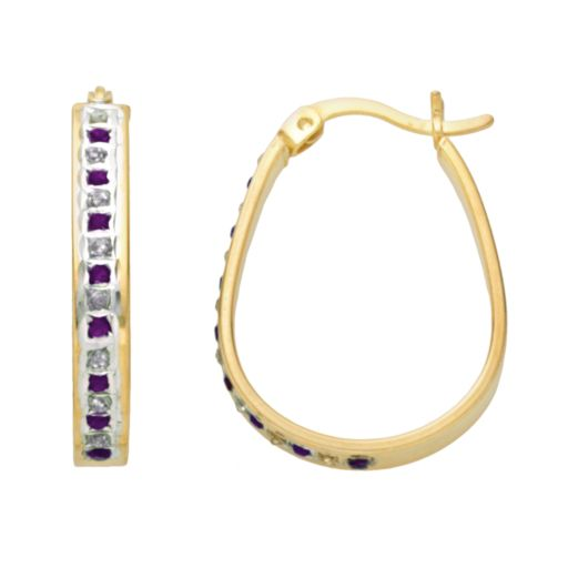 18k Gold-Over-Silver Amethyst and Diamond Accent Pear Hoop Earrings