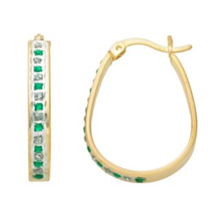 18k Gold-Over-Silver Emerald and Diamond Accent Pear Hoop Earrings