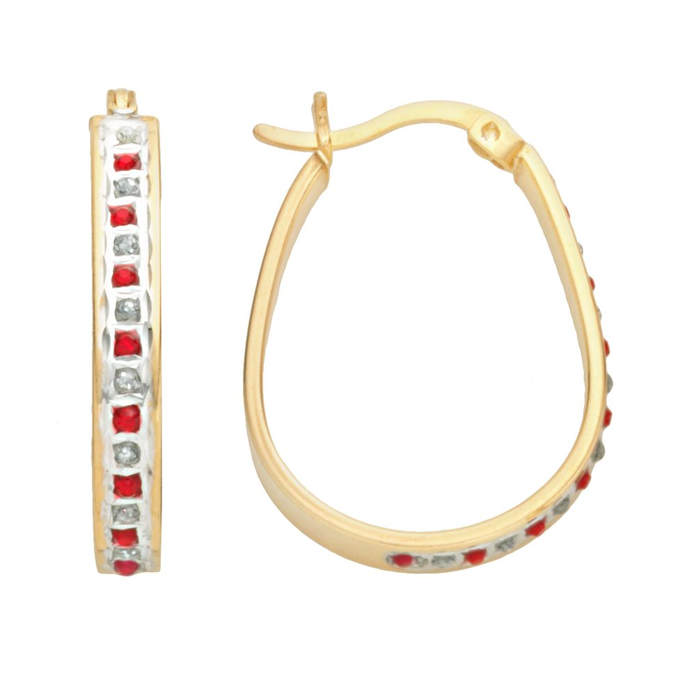 18k Gold-Over-Silver Ruby & Diamond Accent Pear Hoop Earrings