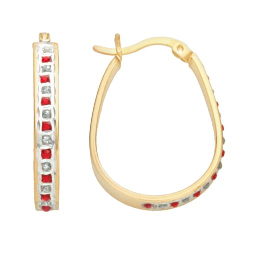 18k Gold-Over-Silver Ruby and Diamond Accent Pear Hoop Earrings