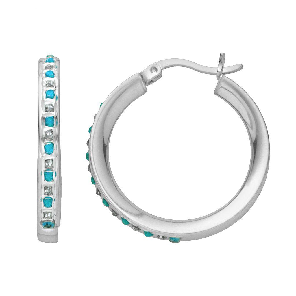 Platinum Over Silver Blue Topaz & Diamond Accent Hoop Earrings