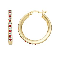 18k Gold-Over-Silver Ruby & Diamond Accent Hoop Earrings