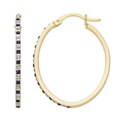 18k Gold-Over-Silver Amethyst & Diamond Accent Oval Hoop Earrings