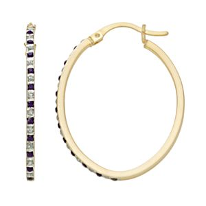 18k Gold-Over-Silver Amethyst and Diamond Accent Oval Hoop Earrings