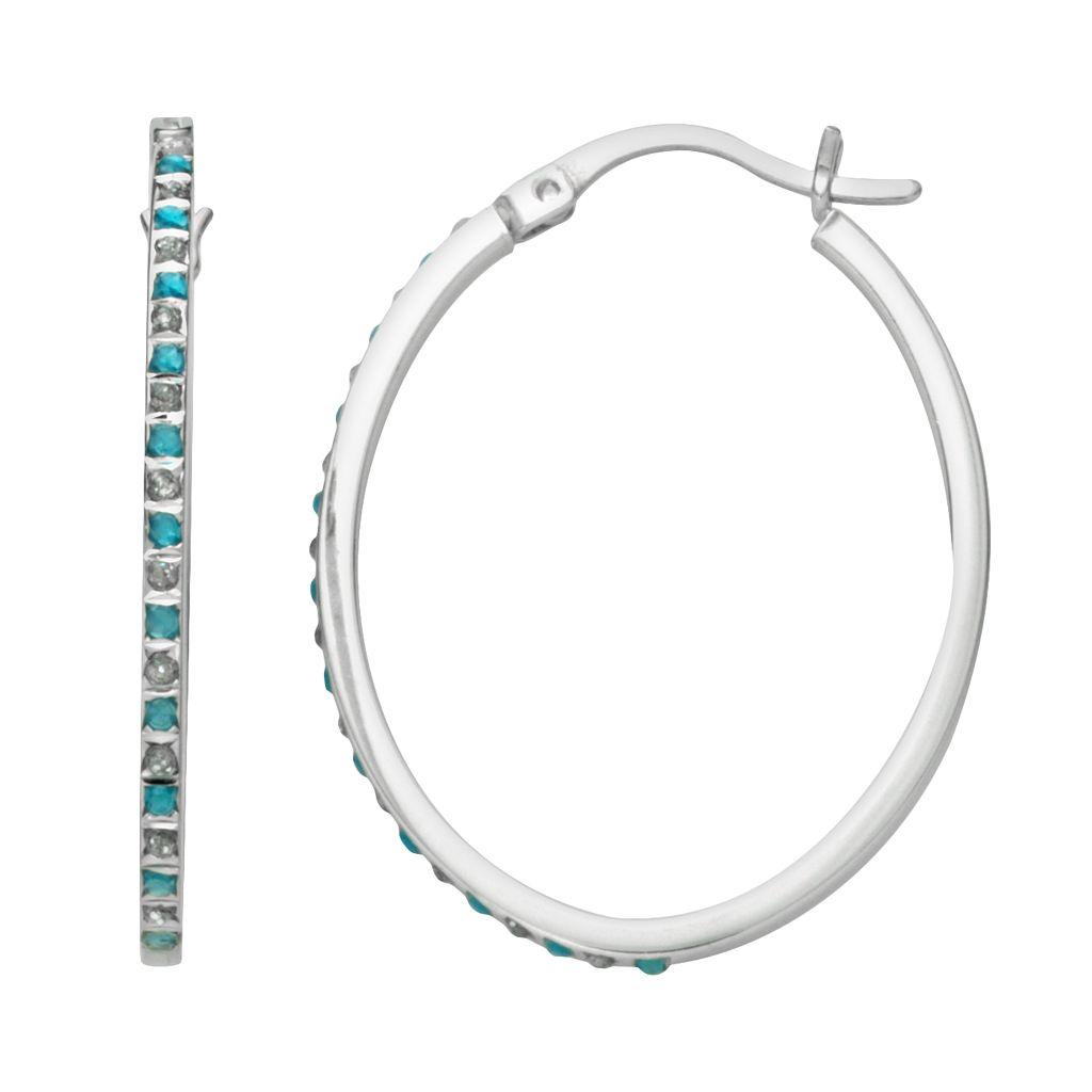 Platinum Over Silver Blue Topaz & Diamond Accent Oval Hoop Earrings