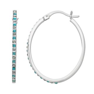 Platinum Over Silver Blue Topaz and Diamond Accent Oval Hoop Earrings