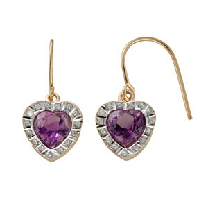 18k Gold Over Silver Amethyst and Diamond Accent Heart Drop Earrings