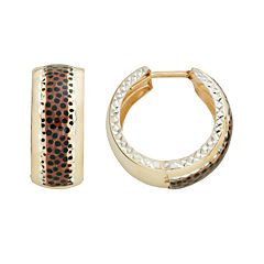 14k Gold-Bonded Sterling Silver Leopard Hoop Earrings