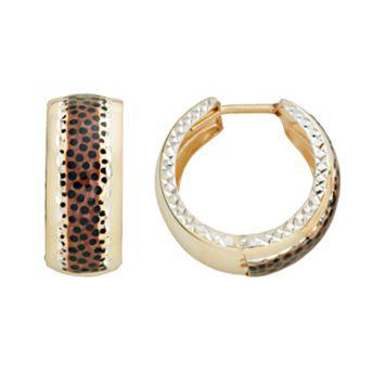 14k Gold-Bonded Sterling Silver Leopard Hoop Earrings
