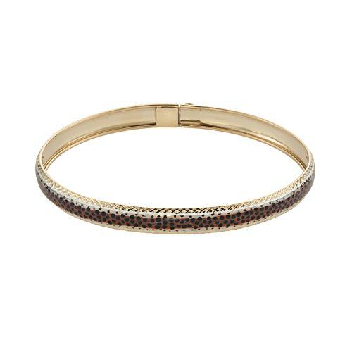 14k Gold & Sterling Silver Leopard Bangle Bracelet