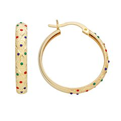 14k Gold-Bonded Sterling Silver Dot Textured Hoop Earrings