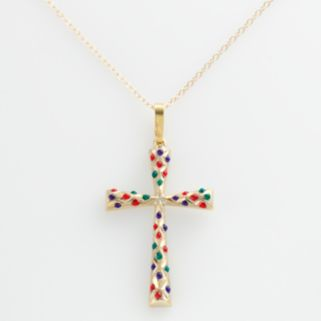 14k Gold-Bonded Sterling Silver Beaded Cross Pendant