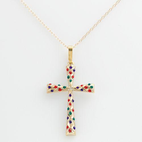 14k Gold-Bonded Sterling Silver Beaded Cross Pendant