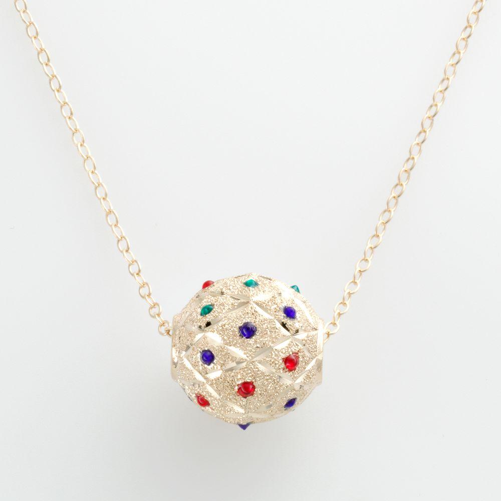 14k Gold-Bonded Sterling Silver Beaded Spinner Ball Pendant