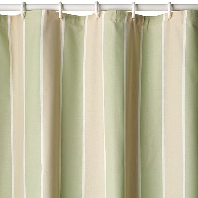 Beach House Striped Fabric Shower Curtain