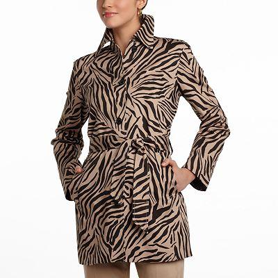 Chaps Palm Desert Zebra Sateen Trench Coat