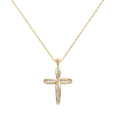 18k Gold-Over-Silver 1/4-ct. T.W. Diamond Cross Pendant