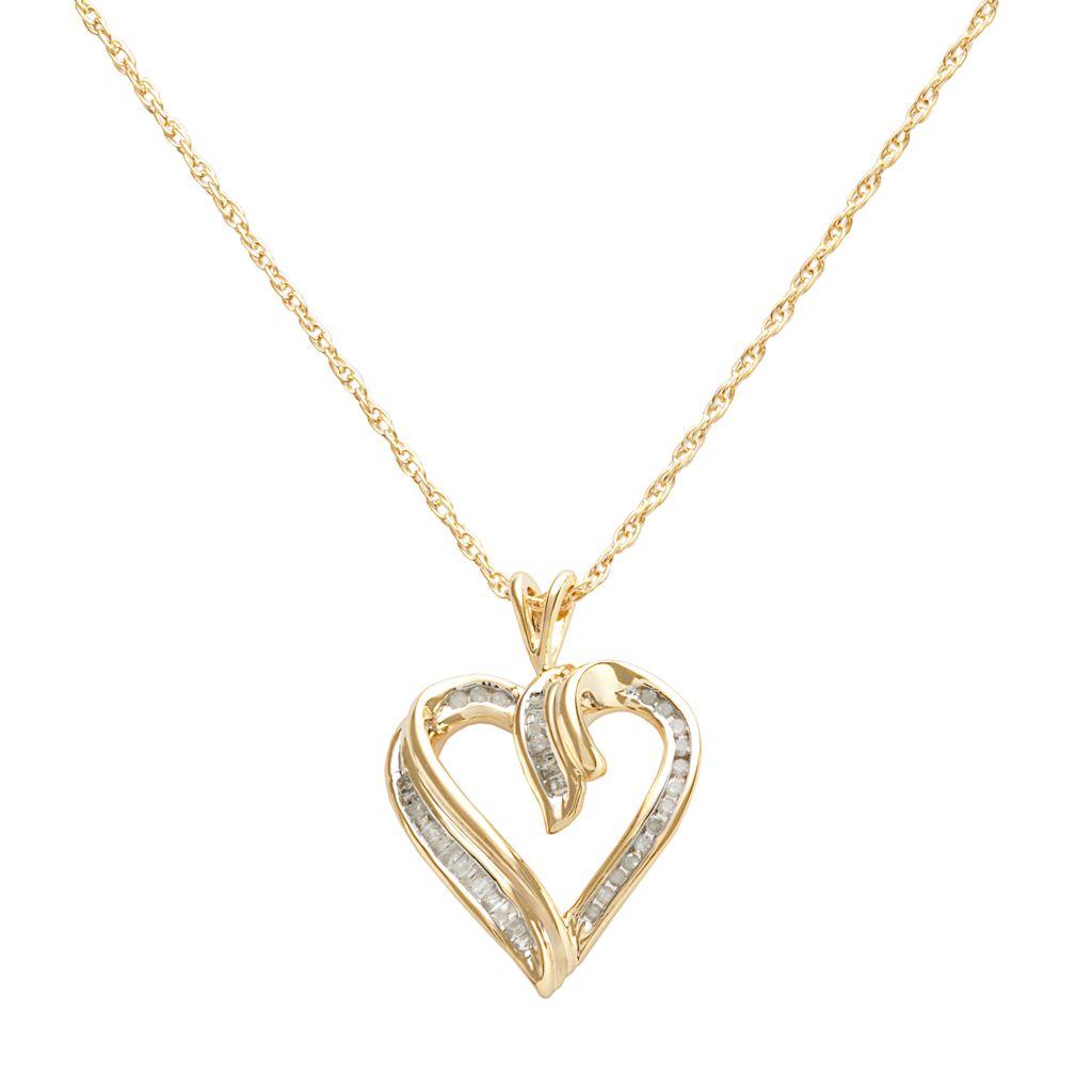 18k Gold-Over-Silver 1/4-ct. T.W. Diamond Heart Pendant