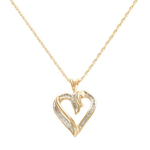 18k Gold-Over-Silver 1/4-ct. T.W. Diamond Heart Pendant