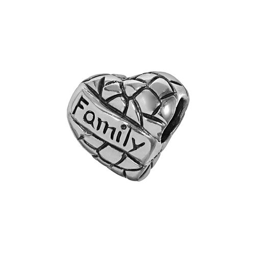 "Individuality Beads Sterling Silver ""Family"" Heart Bead"