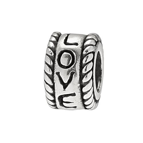 """Individuality Beads Sterling Silver """"LOVE"""" Braided Bead"""
