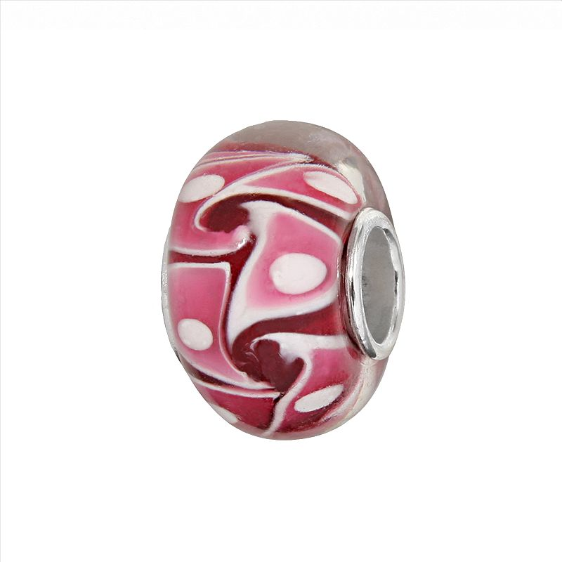 Individuality Beads Sterling Silver Red and Pink Swirl Glass Bead
