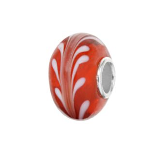 Individuality Beads Sterling Silver Red and White Swirl Glass Bead