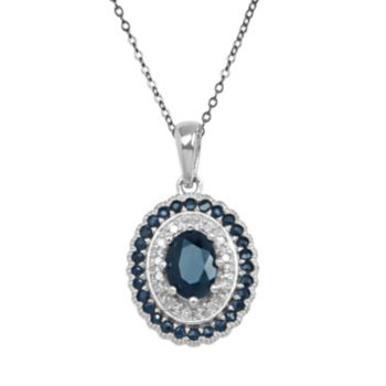 Sterling Silver Sapphire and Diamond Accent Oval Pendant