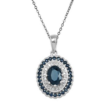 Sterling Silver Sapphire & Diamond Accent Oval Pendant