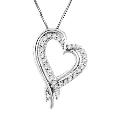 Two Hearts Forever One Sterling Silver 1/4-ct. T.W. Round-Cut Diamond Heart Pendant
