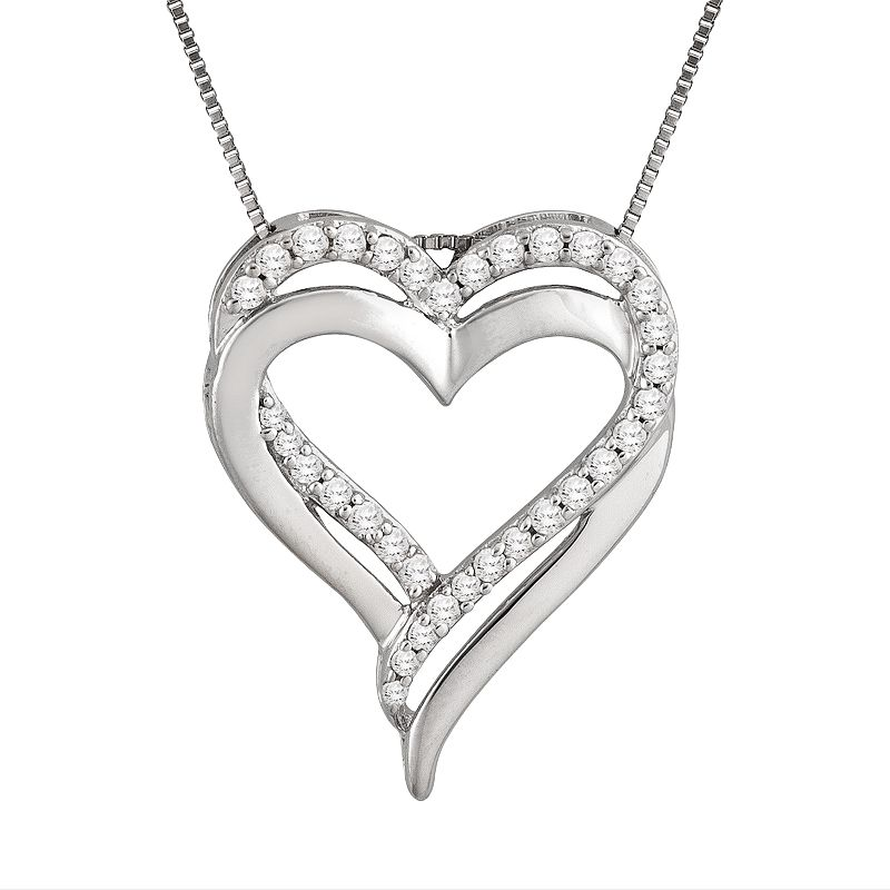 Two Hearts Forever One Sterling Silver 1/4 Carat T.W. Diamond Heart Pendant, Women's, White