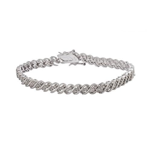 Sterling Silver 1-ct. T.W. Diamond Swirl Bracelet