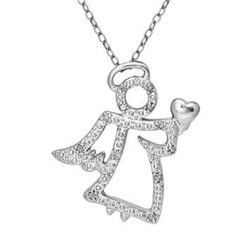 Sterling Silver 1/10-ct. T.W. Diamond Angel Pendant