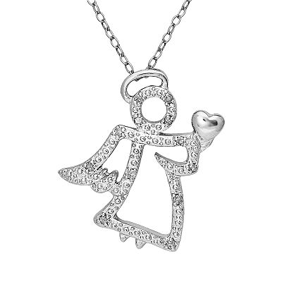 Sterling Silver 1/10-ct. T.W. Diamond Angel Pendant