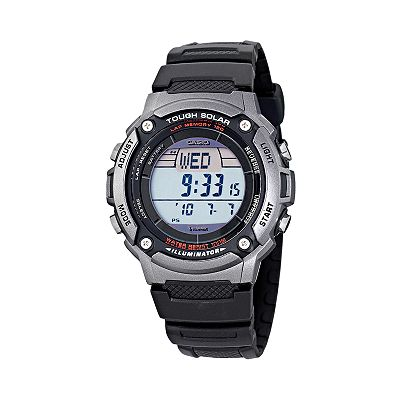 Casio Illuminator Tough Solar Silver Tone Digital Chronograph Watch - Men