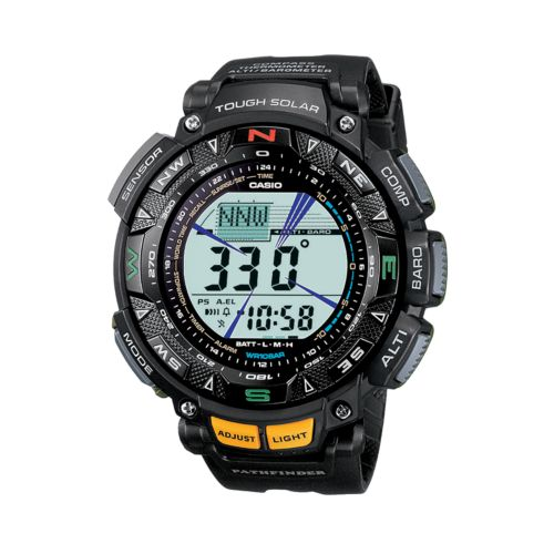 Casio Watch - Men's Pathfinder Tough Solar Triple Sensor Black Resin Digital Chronograph