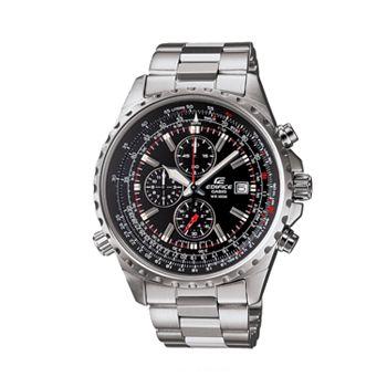 Casio men 39 s edifice stainless steel flight computer chronograph watch ef527d 1av for Watches kohls